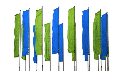 Green and blue flags