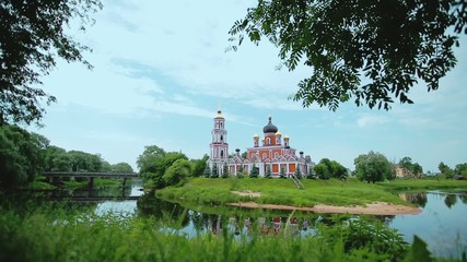 Russian Orthodox Brick Church with Bell Tower on an Island