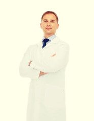 male doctor in white coat