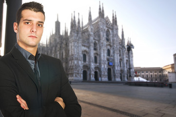 Portrait of Young Businessman  in center of Milan