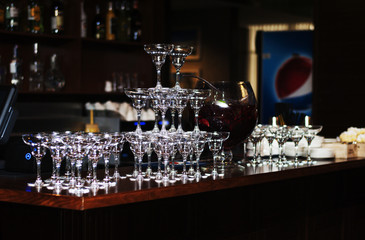 martini glasses on the bar