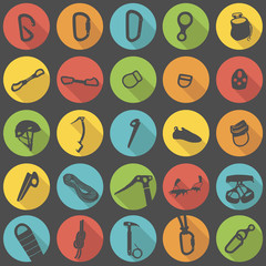 Climbing gear flat icons vector set