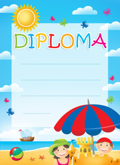 Diploma for children with kids, summertime