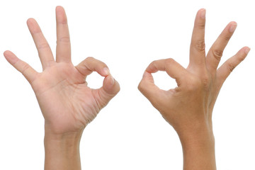 woman hand showing ok sign