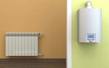 Heating radiator and gas boiler