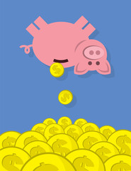 Piggy bank with coins falling into large pile