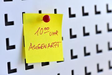 Augenarzt, Augenheilkunde, Ophthalmologie, Brille, Termin, Notiz