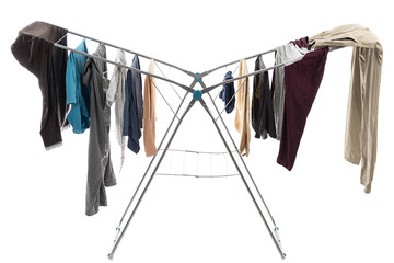 Laundry hanged on portable hanger isolated on white background