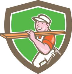 Builder Carpenter Carrying Timber Shield Cartoon