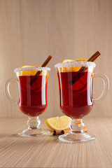 mulled wine in clear glass mug
