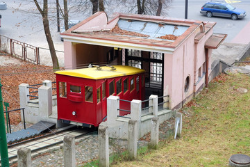 Kaunas, Lithuanian - November, 17, 2014: funicular in the old to
