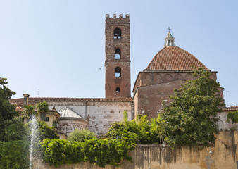 San Giovanni tower and Reparata Church in Lucca, Italy.