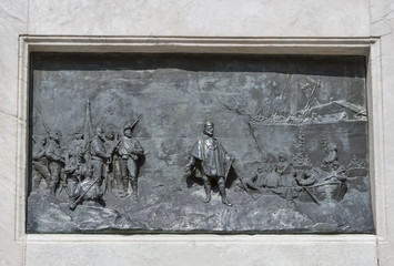 Bas relief on Guiseppe Garibaldi monument column in Lucca, Italy
