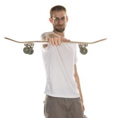 Holding Skateboard