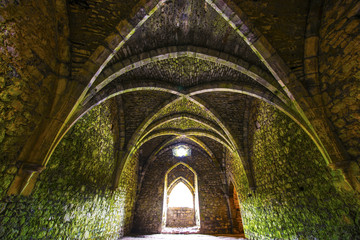 Ancient medieval room with arches