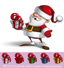 Smilling Santa - Holding a Present