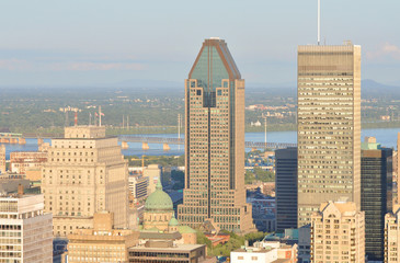 Montreal city skyline in financial district, Montreal, Quebec
