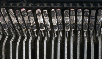 Characters on old typewriter