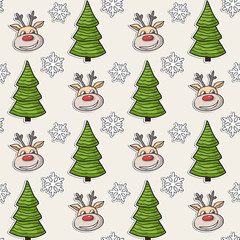 Christmas pattern with deer, tree, snowflakes