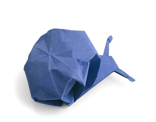 traditional origami snail, blue