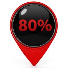 Eighty percent pointer icon on white background