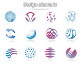 Color design elements set, isolated, vector illustration