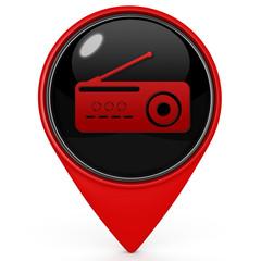 Radio pointer icon on white background
