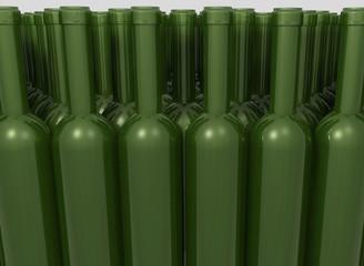 Bottiglie verdi in gruppo