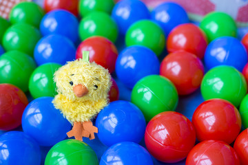 Sweet yellow toy bird on colorful plastic balls