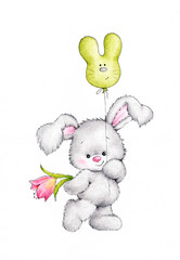 Cute bunny with balloon and flower