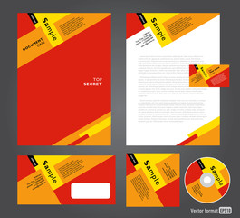 Professional corporate identity red yellow brown white color Bus