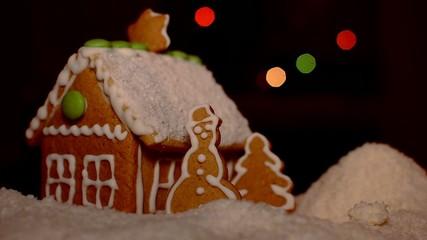Christmas gingerbread house snowy coconut