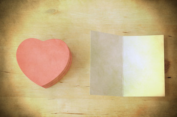 Pink Heart Gift Box and Card - Retro Grungy