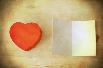 Red Heart Gift Box and Card - Retro Grungy