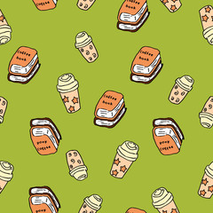 Hand-drawn seamless pattern of coffees and books in bright green