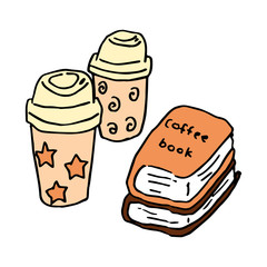 Hand-drawn illustration of coffees and books