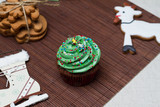 Christmas Treats. Cakes, cupcakes, confection. Light background poster