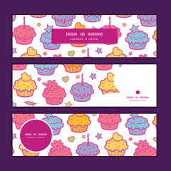 Vector colorful cupcake party horizontal banners set pattern