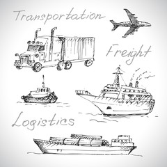 Transport icon set. Sketch, hand drawn.