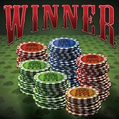 Pocker chip many green background text Winner