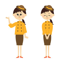 Two pose variations of a young receptionist