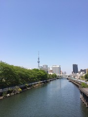 a river with Tokyo sky tree