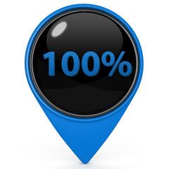 Hundred percent pointer icon on white background