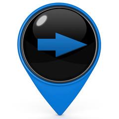Right Arrow pointer icon on white background