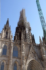 Cathedral under reconstruction Barcelona Catalonia Spain