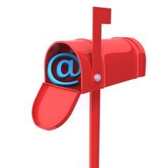 Red mailbox with e-mail sign