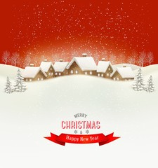 Winter village evening background. Vector.