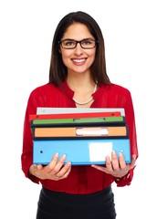 Beautiful business woman with folders.
