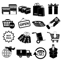 Shopping delivery icons set