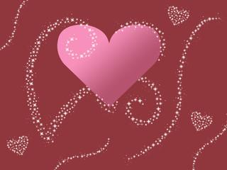 pink heart design sparkle valentines background illustration